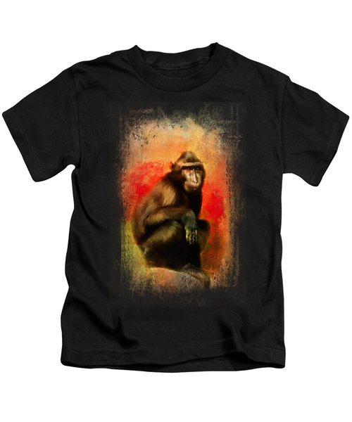 Colorful Expressions Black Monkey Kids T-Shirt by Jai Johnson