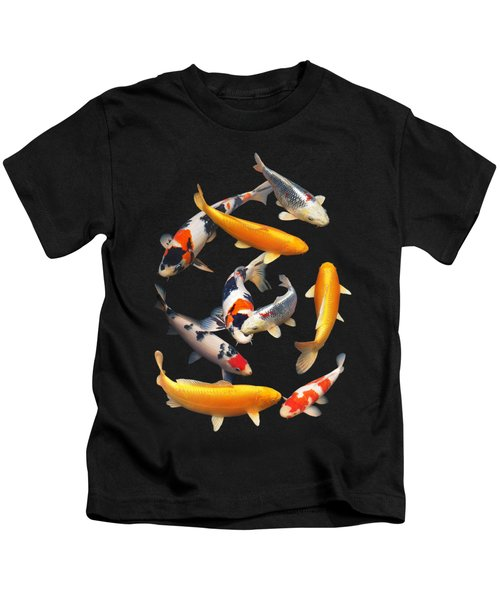 Colorful Japanese Koi Vertical Kids T-Shirt by Gill Billington