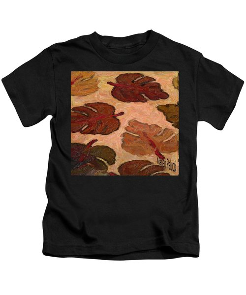 Kids T-Shirt featuring the painting Colorful Leaves by Marian Palucci-Lonzetta