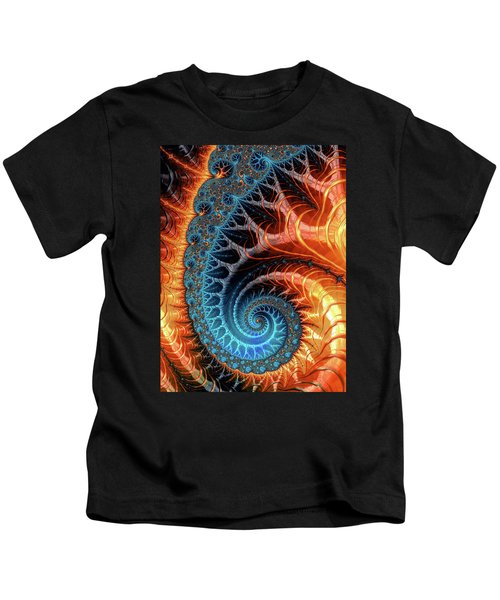 Colorful Luxe Fractal Spiral Turquoise Brown Orange Kids T-Shirt