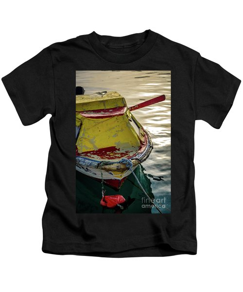 Colorful Old Red And Yellow Boat During Golden Hour In Croatia Kids T-Shirt