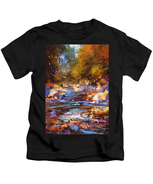 Kids T-Shirt featuring the painting Colorful River by Tithi Luadthong