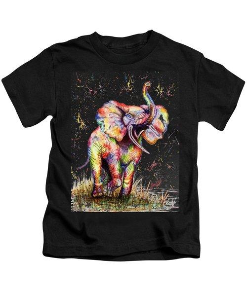 Colorful Watercolor Elephant Kids T-Shirt