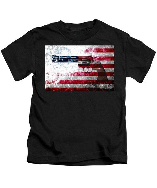Colt Python 357 Mag On American Flag Kids T-Shirt