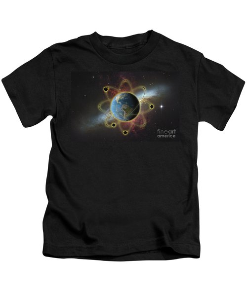 Conceptual Illustration Of Atomic Earth Kids T-Shirt