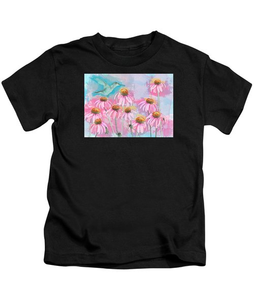 Coneflower Hummingbird Watercolor Kids T-Shirt