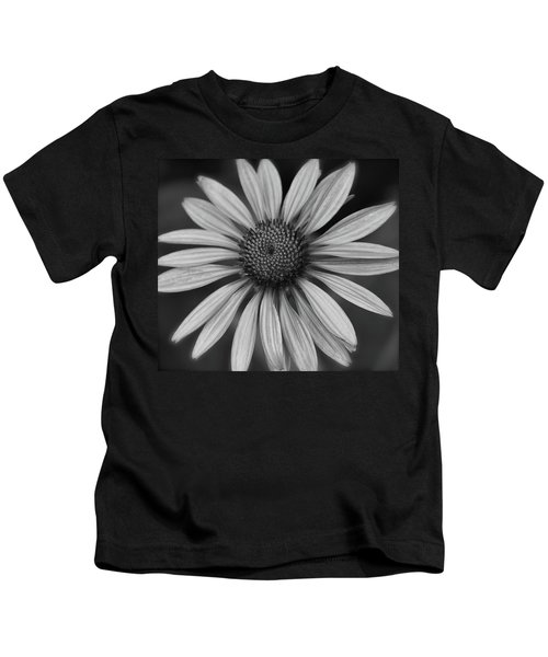 Coneflower In Black And White Kids T-Shirt