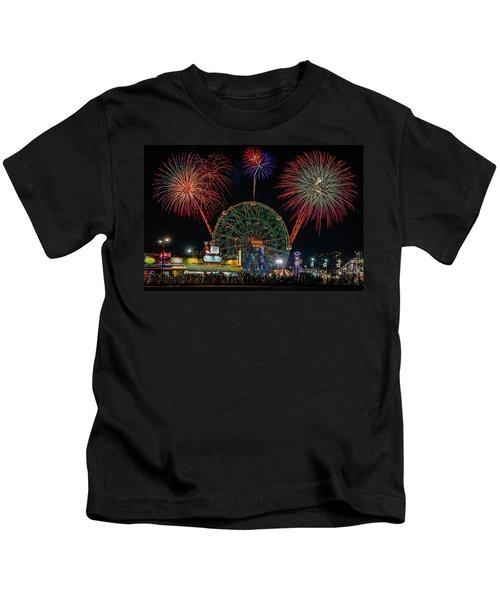 Coney Island At Night Fantasy Kids T-Shirt