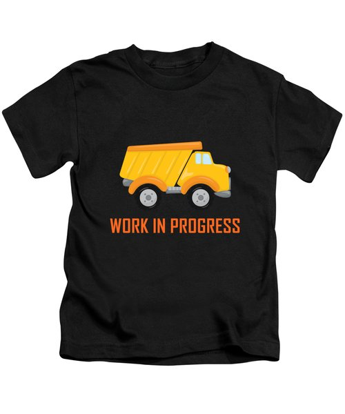 Construction Zone - Dump Truck Work In Progress Gifts - Grey Background Kids T-Shirt