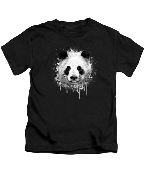 Cool Abstract Graffiti Watercolor Panda Portrait In Black And White  Kids T-Shirt by Philipp Rietz