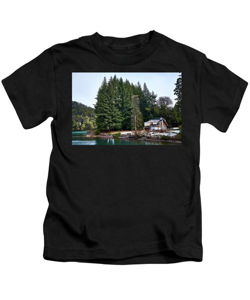 Little Cottage And Pines In The Argentine Patagonia Kids T-Shirt