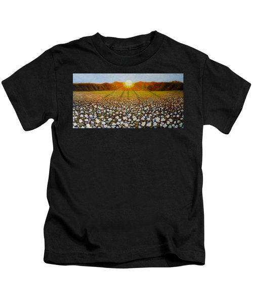 Cotton Field Sunset Kids T-Shirt
