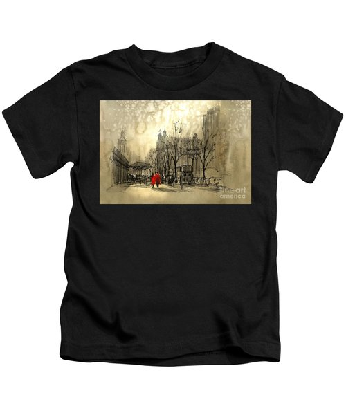 Kids T-Shirt featuring the painting Couple In City by Tithi Luadthong