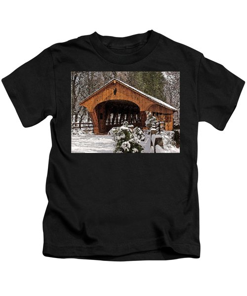 Covered Bridge At Olmsted Falls-winter-2 Kids T-Shirt