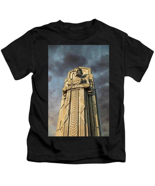 Covered Wagon Guardian On Hope Memorial Bridge Kids T-Shirt