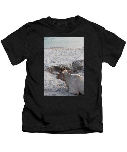 Cow Resting By The Ganga, Rishikesh Kids T-Shirt