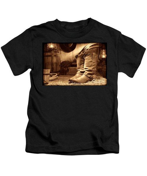 Cowboy Boots In A Ranch Barn Kids T-Shirt
