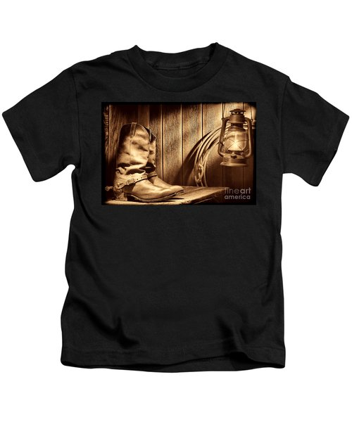 Cowboy Boots In Old Barn Kids T-Shirt