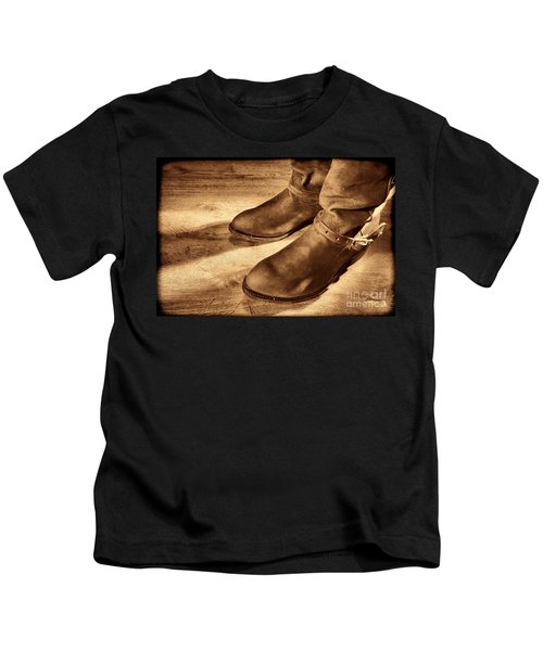 Cowboy Boots On Saloon Floor Kids T-Shirt