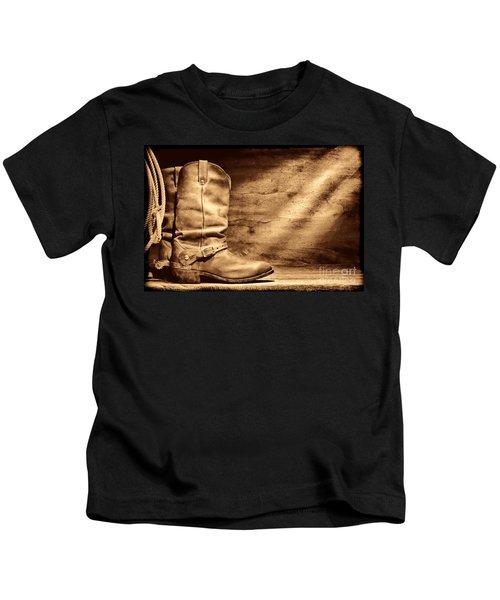 Cowboy Boots On Wood Floor Kids T-Shirt