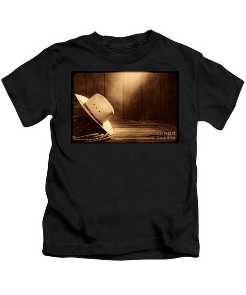 Cowboy Hat In The Old Barn Kids T-Shirt