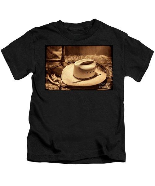 Cowboy Hat On Barn Floor Kids T-Shirt