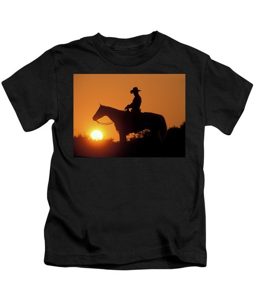 Cowboy Sunset Silhouette Kids T-Shirt