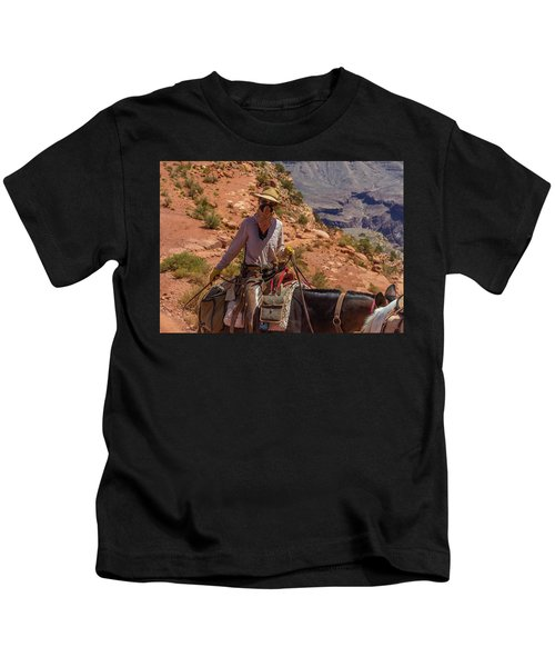 Cowgirl Leading A Mule Train On The South Kaibab Trail Kids T-Shirt