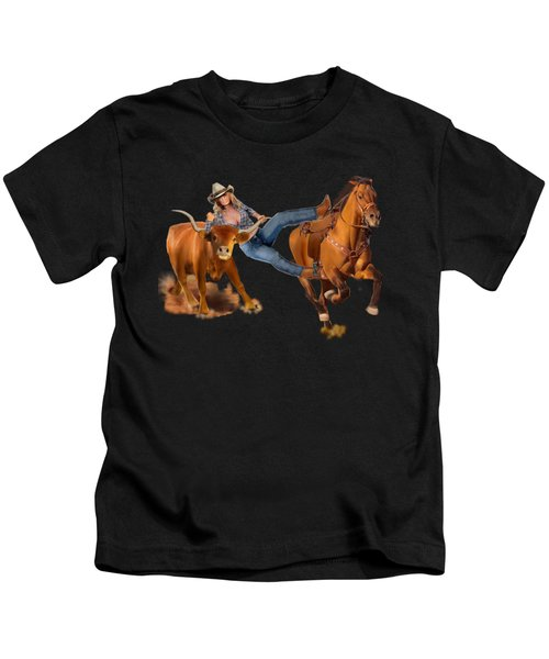 Cowgirl Steer Wrestling Kids T-Shirt