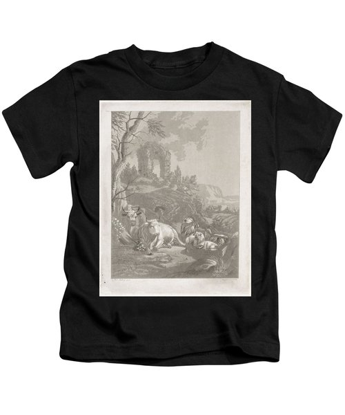Cows, Goats And Sheep In A Mountainous Landscape With Ruin, Diederik Jan Singendonck, After Christia Kids T-Shirt
