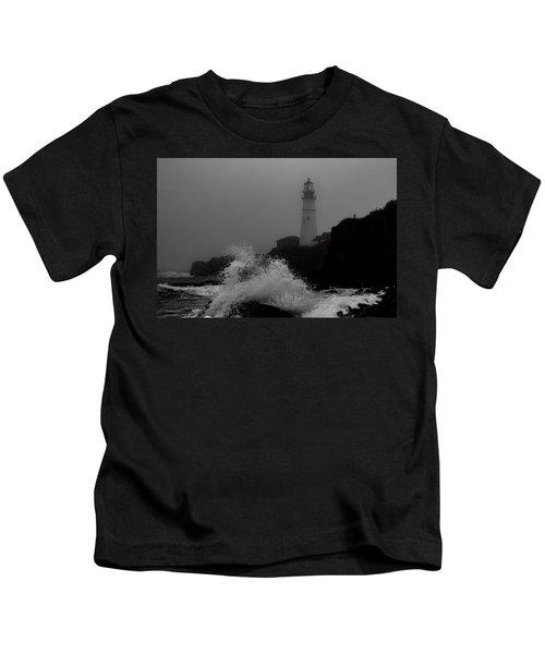 Crashing Waves On A Foggy Morning Kids T-Shirt