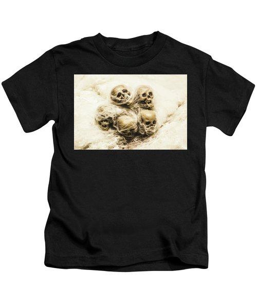 Creepy Skulls Covered In Spiderwebs Kids T-Shirt