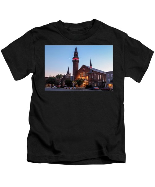 Crescent Moon Over Old Town Hall Kids T-Shirt