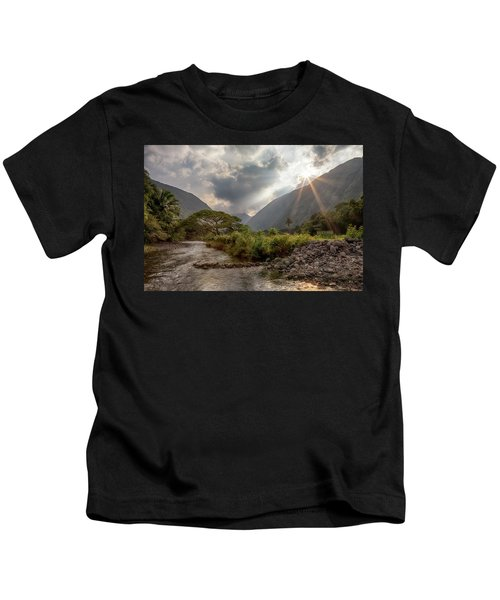 Crossing Hiilawe Stream Kids T-Shirt