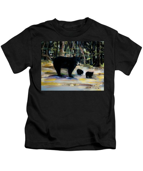 Cubs With Momma Bear - Dreamy Version - Black Bears Kids T-Shirt