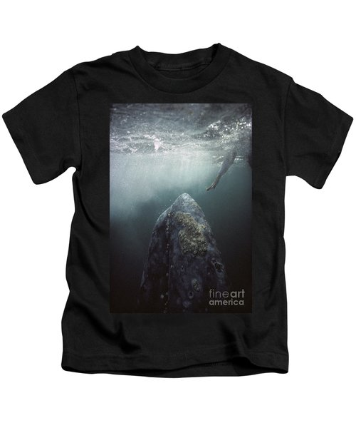Curious Gray Whale And Tourist Kids T-Shirt