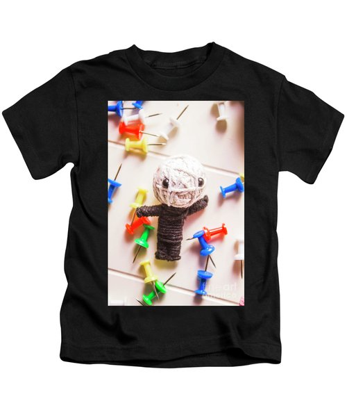 Cute Doll Made From Yarn Surrounded By Pins Kids T-Shirt