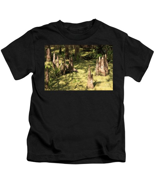 Cypress Knees In Green Swamp Kids T-Shirt