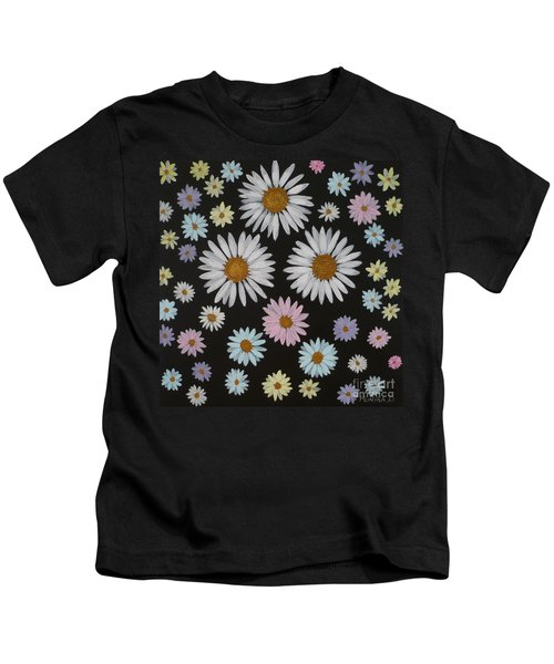 Daisies On Black Kids T-Shirt