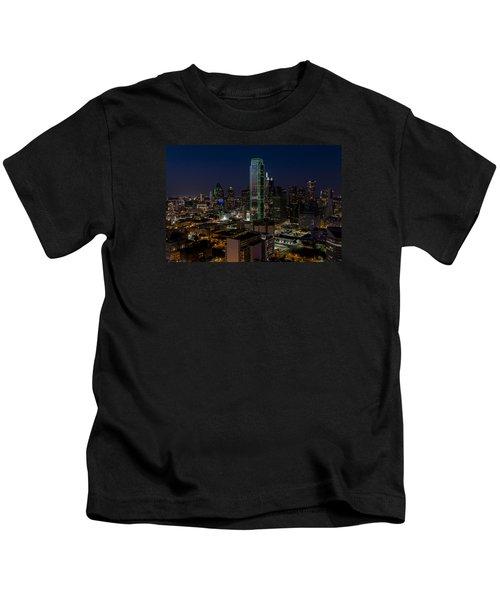 Dallas Skyline Evening Glow Kids T-Shirt