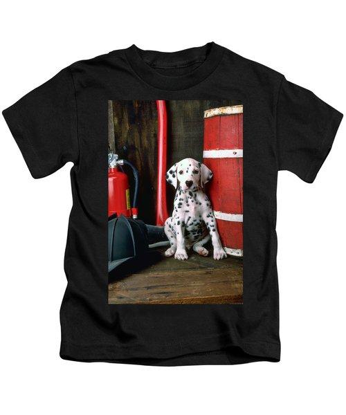 Dalmatian Puppy With Fireman's Helmet  Kids T-Shirt