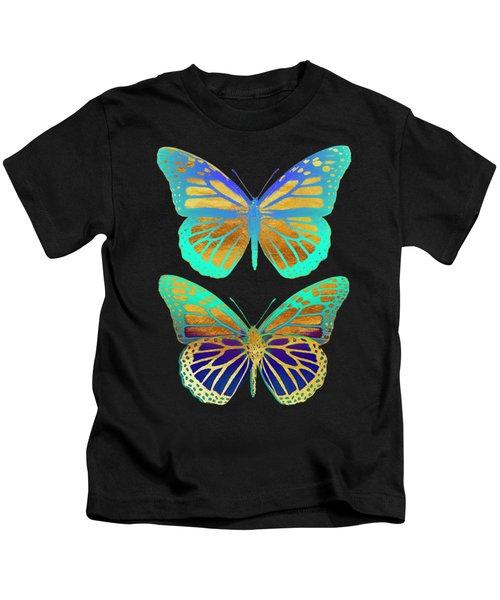 Danaus Plexippus Psychedelicus I, Pop Art Gold Psychedelic Butterflies Kids T-Shirt