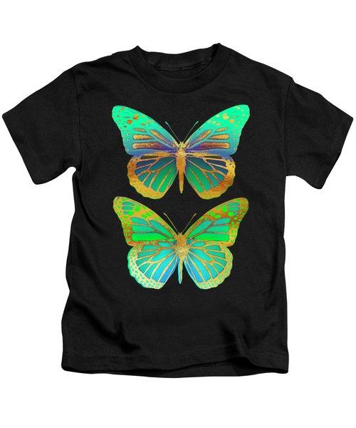 Danaus Plexippus Psychedelicus II, Pop Art Gold Psychedelic Butterflies Kids T-Shirt