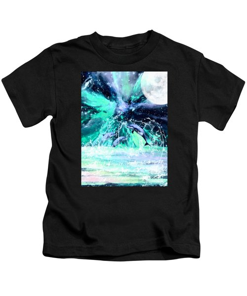 Dancing Dolphins Under The Moon Kids T-Shirt
