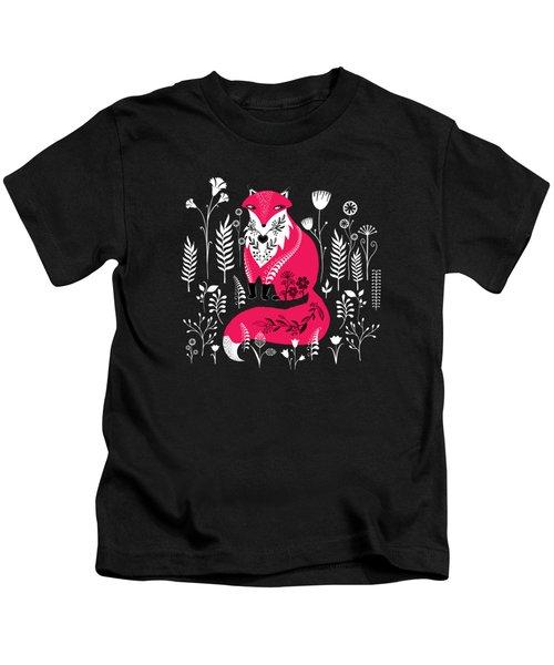 Dancing Forest Woodland Folk Fox Kids T-Shirt