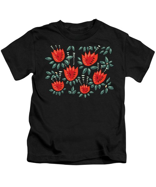 Dark Floral Pattern Of Abstract Red Tulips Kids T-Shirt
