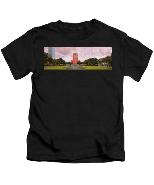 Dawn Panorama Of Houston City Hall At Hermann Square - Downtown Houston Harris County Kids T-Shirt