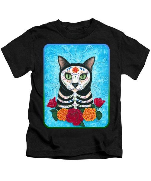 Day Of The Dead Cat - Sugar Skull Cat Kids T-Shirt