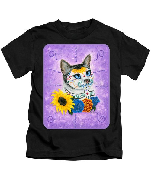 Day Of The Dead Cat Sunflowers - Sugar Skull Cat Kids T-Shirt