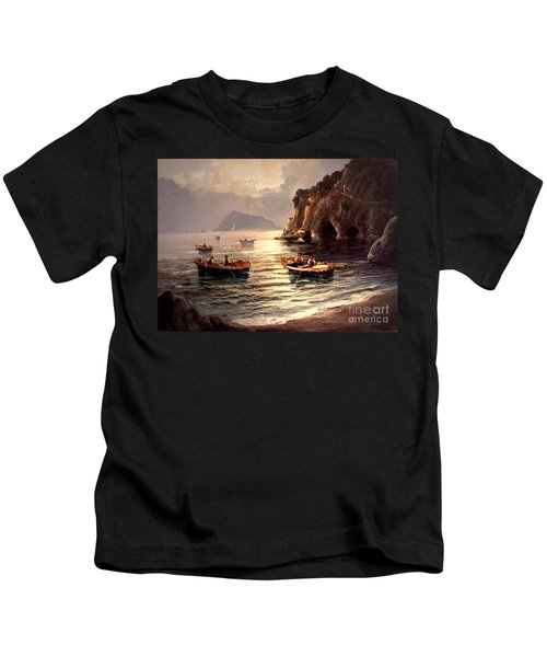 Day's End And Work Begins In The Gulf Of Naples Kids T-Shirt